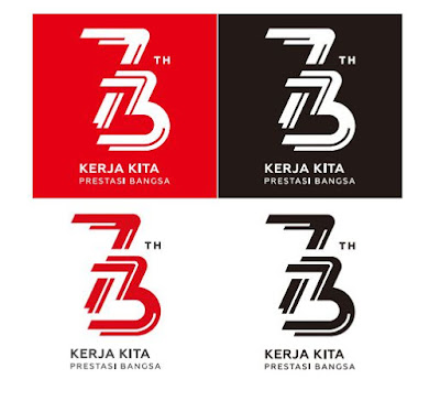 Logo HUT RI ke 73 background Merah hitam dan putih