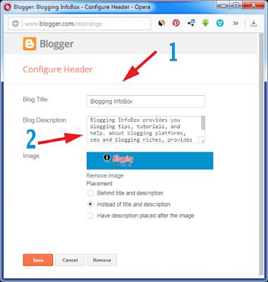 blogger, header gadget,