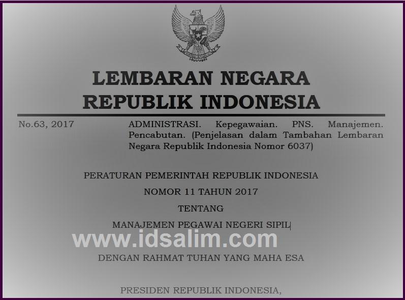 PP No 11 Tahun 2017 Tentag Manajemen PNS
