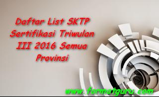 Daftar List SKTP Sertifikasi Triwulan III 2016 Semua Provinsi