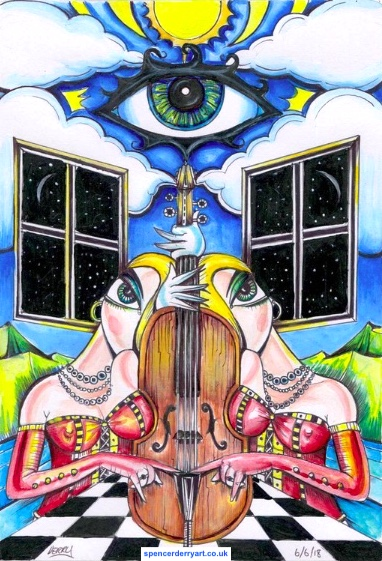 Cello, Surrealistic Landscape with an eye in the sky.