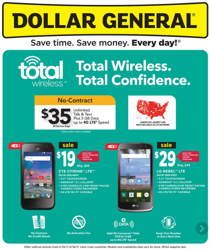 Dollar General has 4 hot prepaid wireless deals this week. Any Ready Mobile prepaid handset, $7 off. Samsung a on AT&T GoPhone, $ Unlimited talk and text just $2 per day. Samsung Gusto on Verizon Wireless Prepaid, $