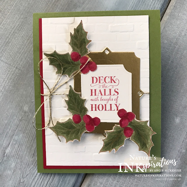 By Angie McKenzie for Sharing Sunday; Click READ or VISIT to go to my blog for details! Featuring the retiring Christmas Gleaming stamp set by Stampin' Up!®; #stampinup #handmadecards #naturesinkspirations #keepstamping #christmascards #leftoverscraps  #christmasgleamingstampset #brickandmortarembossingfolder #fussycutting #coloringwithblends #cardtechniques