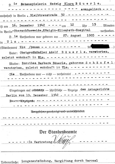 Death registration of Clara Bauerle - December 16, 1942 in Berlin.