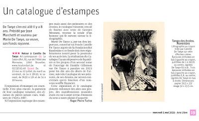 article de Roger Pierre Turine à propos du catalogue raisonné de l'œuvre imprimé de camille de taeye dans la libre du 5 mai 2021