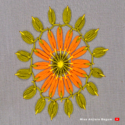 Round hand made embroidered flower, So colorful hand embroidery for beginners