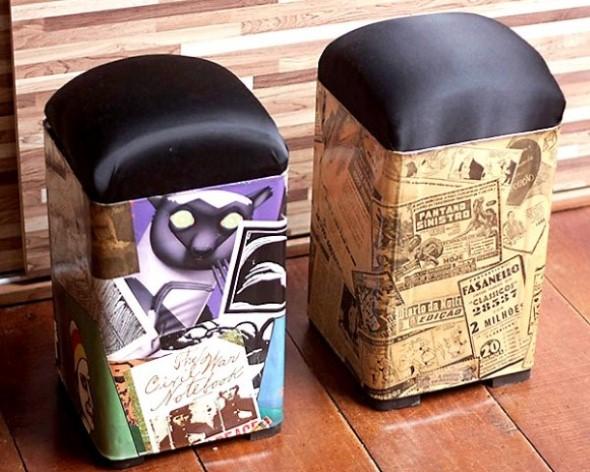 Latas de tinta vazias de 18 litros se transformam em pufes usando a criatividade