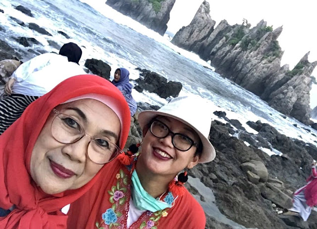 My mom and I enjoying Gigi Hiu Exotic Beach, Lampung