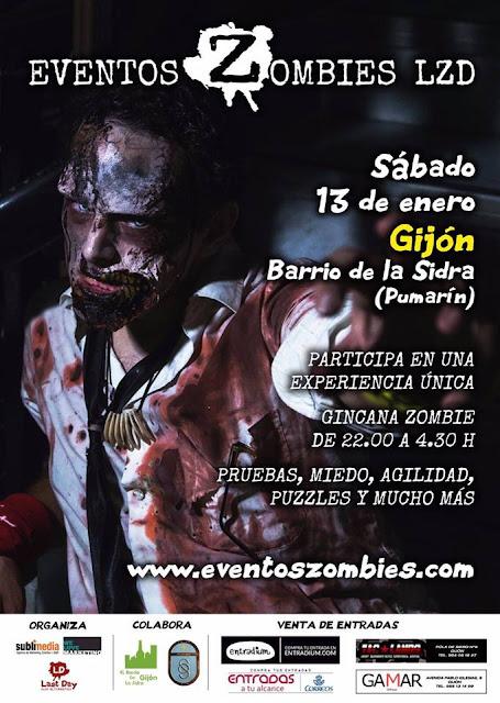 Evento Zombie en Gijón 13 de Enero 2018