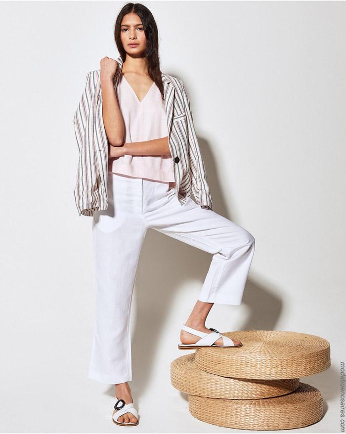 Sacos y pantalones de lino primavera verano 2020 moda mujer.