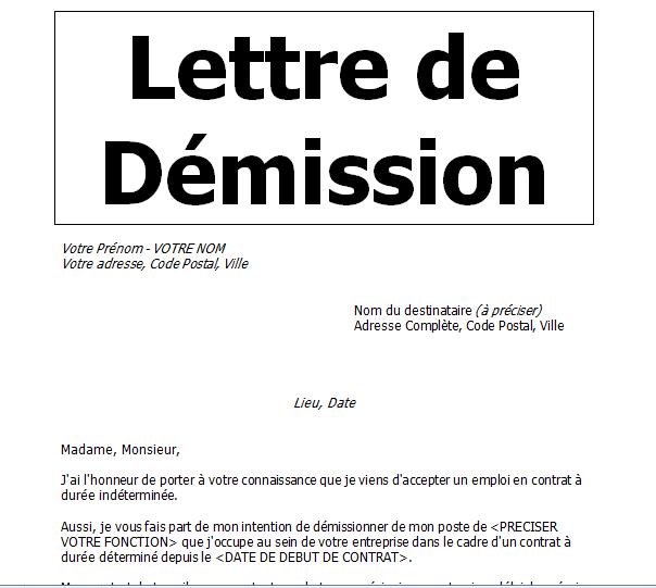 Modèle Lettre De Démission Avec Préavis En Word Doc Cours