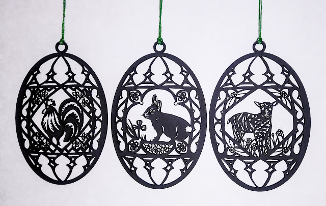 Laser-cut Easter ornaments