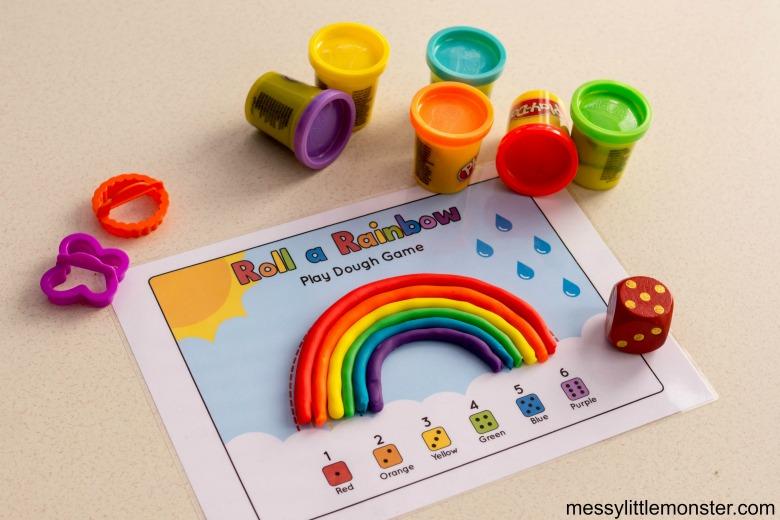 roll a rainbow playdough mat