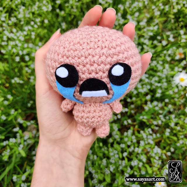 Peluche amigurumi - Isaac - The Binding of Isaac - Saya's Art Jeu vidéo crochet mignon kawaii cadeau geek video game cute gift