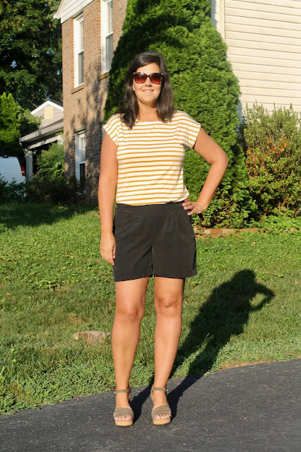 Black cupro twill shorts handmade from the Simplicity 1887 sewing pattern.