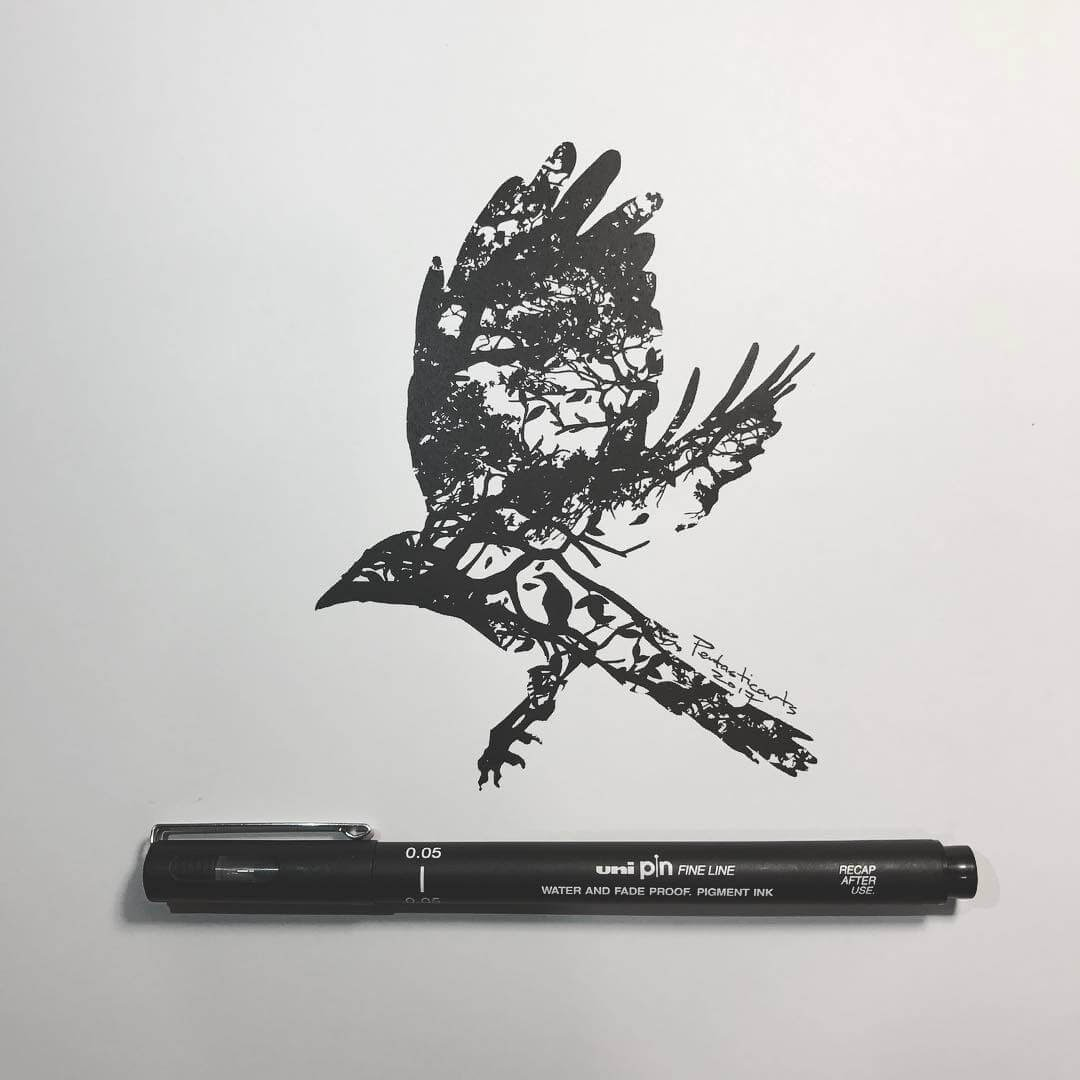 07-Wild-Silhouette-Raven-Joseph-Catimbang-Black-and-white-Ink-Graphic-Design-Art-www-designstack-co