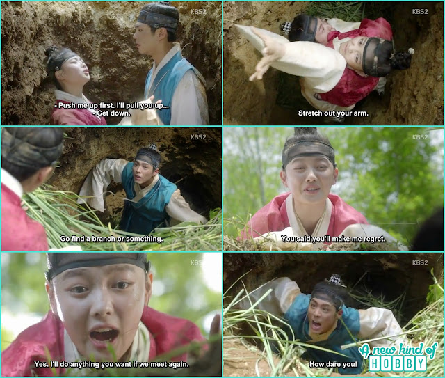 prince help ra on to leave from the dicth but ra on leave and didn't help him  - Love in the Moonlight - Episode 1 Review