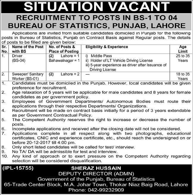 Jobs In Bureau Of Statistics Lahore Dec 2017