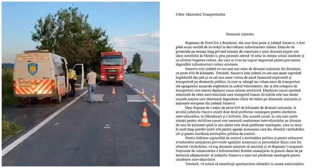 I-am scris noului ministru al Transporturilor și i-am propus să dispună amenajarea cu celeritate a unor noi platforme omologate pentru cântărirea autovehiculelor în județul Suceava