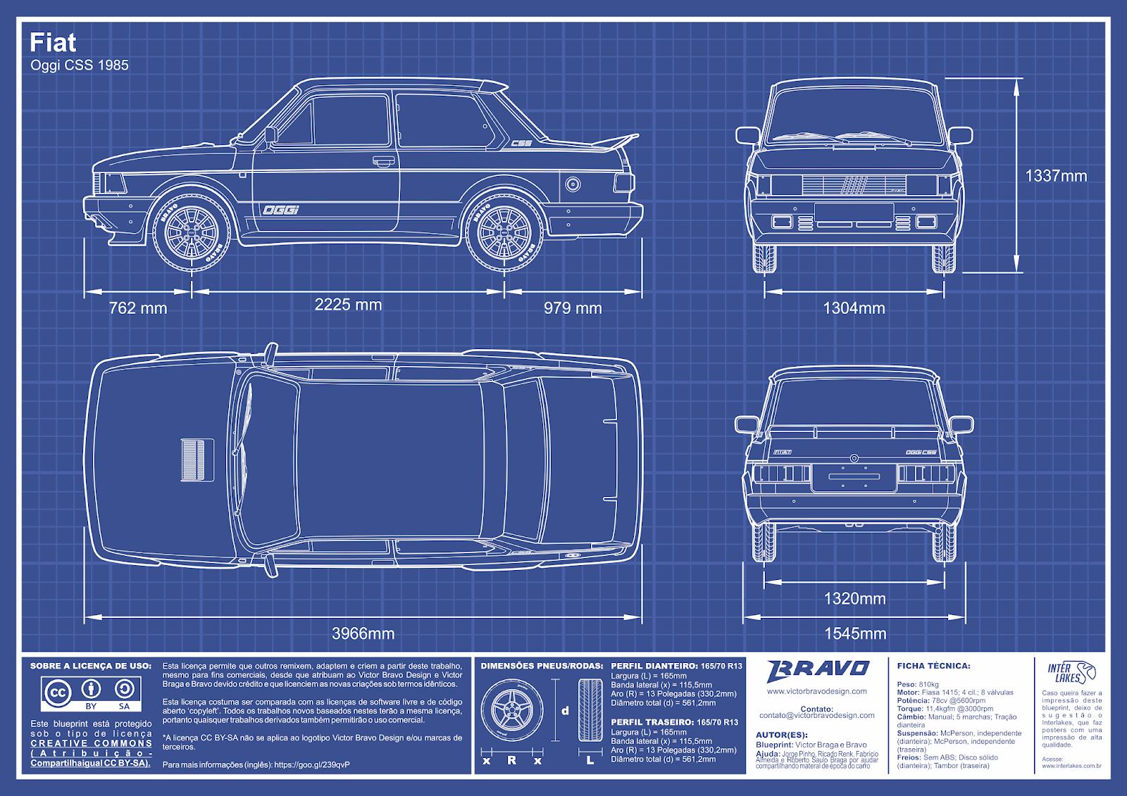 Imagem mostrando o desenho do blueprint do Fiat Oggi CSS 1985