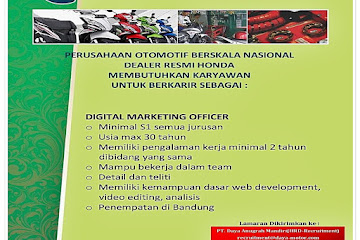 Lowongan Kerja Digital Marketing Officer  Daya Motor
