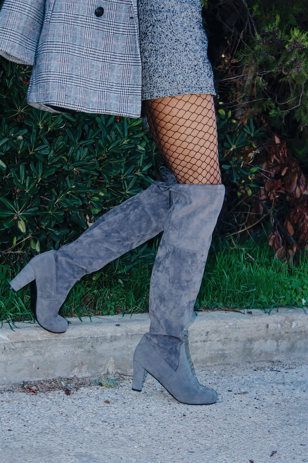 161b4b50195 Charlotte s lookbook   GRAY ON GRAY OVER-THE-KNEE BOOTS  CHICME