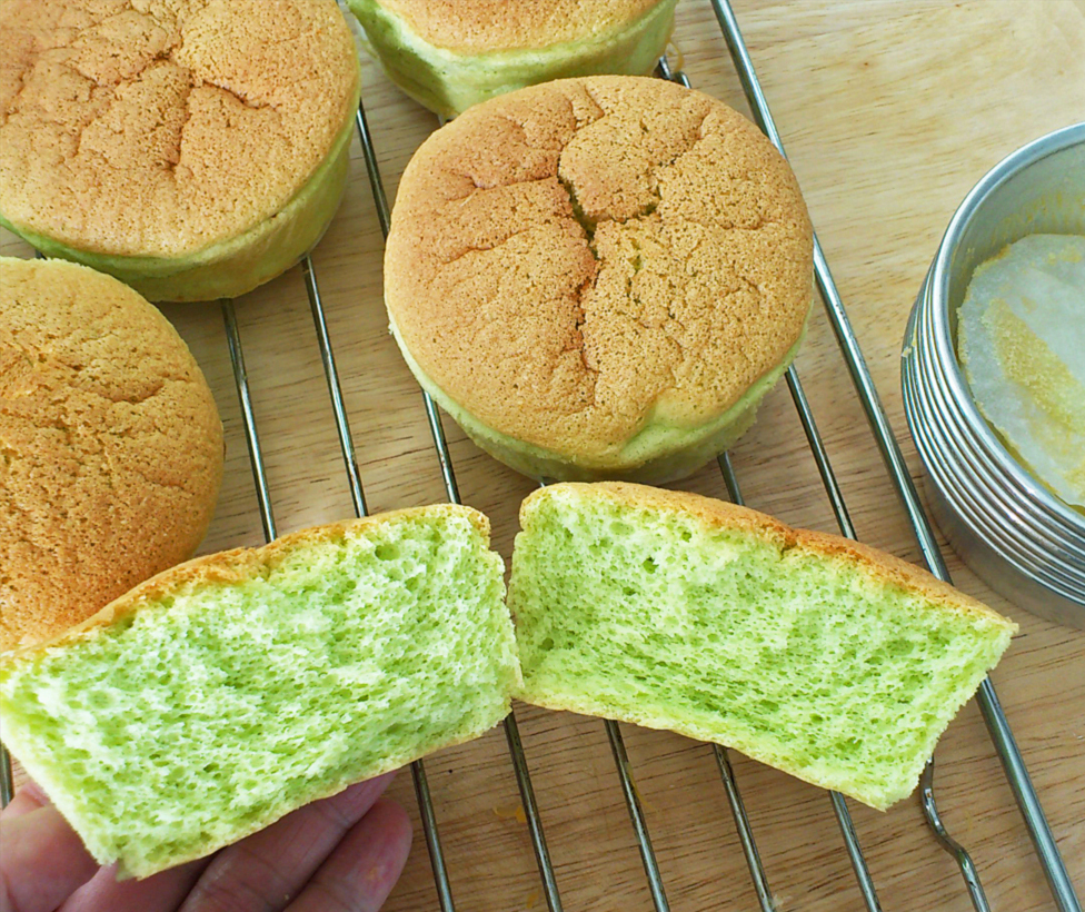 cut pandan chiffon cupcakes showing beautiful crumb