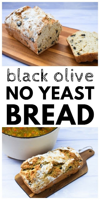An easy no knead, black olive and thyme beer bread made in one bowl with no yeast. The main ingredients are self-raising flour, black olives and beer or lager. Super simple and super quick. #beerbread #quickbread #olivebread #quickbreadrecipes #noyeastbread #nokneadbread #noyeastloaf #nokneadloaf #breadrecipes