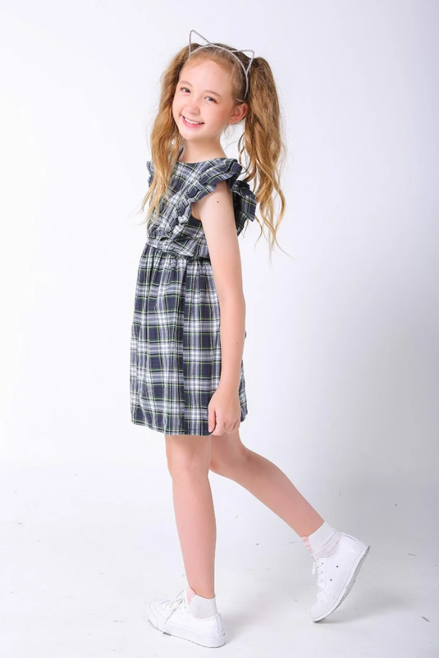 Đầm bé gái Plaid Skater