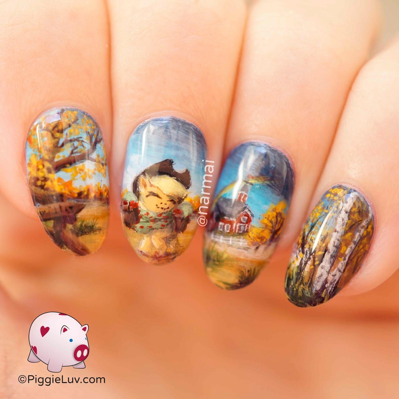 PiggieLuv: Autumn Applejack nail art