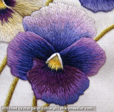 Example of low contrast embroidery on needlepainted pansy.
