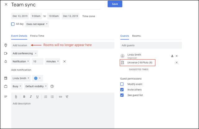 Change to Locations of Booked Rooms in Google Calendar Events 1
