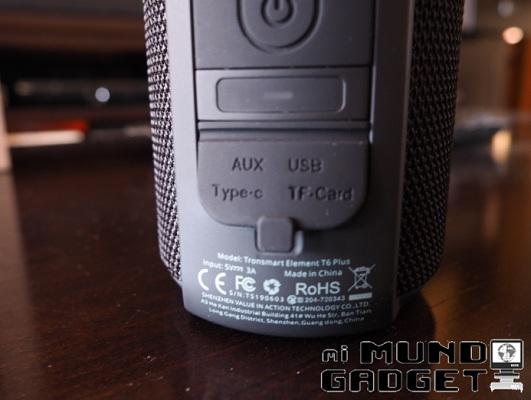 Tronsmart T6 Plus: conectividad USB Tipo C, ranura microSD y conector de 3.5 mm