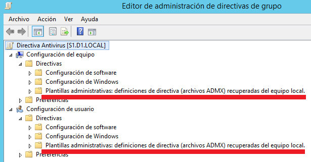 Windows: Actualizar plantillas administrativas