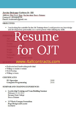 Sample Resume for OJT Student for Information Technology
