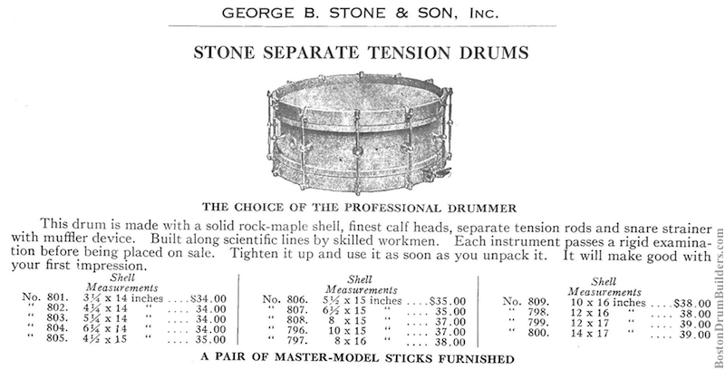 1922 George B. Stone & Son Separate Tension Orchestra Drum advertisement