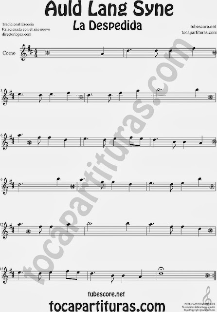 Partitura de La Despedida para Trompa y Corno en Mi bemol Popular Italia Auld Lang Syn Sheet Music for Horn and French Horn Music Scores