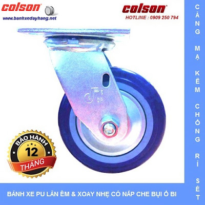 Bánh xe PU Colson có nắp che bụi chịu lực cho xe đẩy vải sợi tại Nhơn Trạch www.banhxeday.xyz