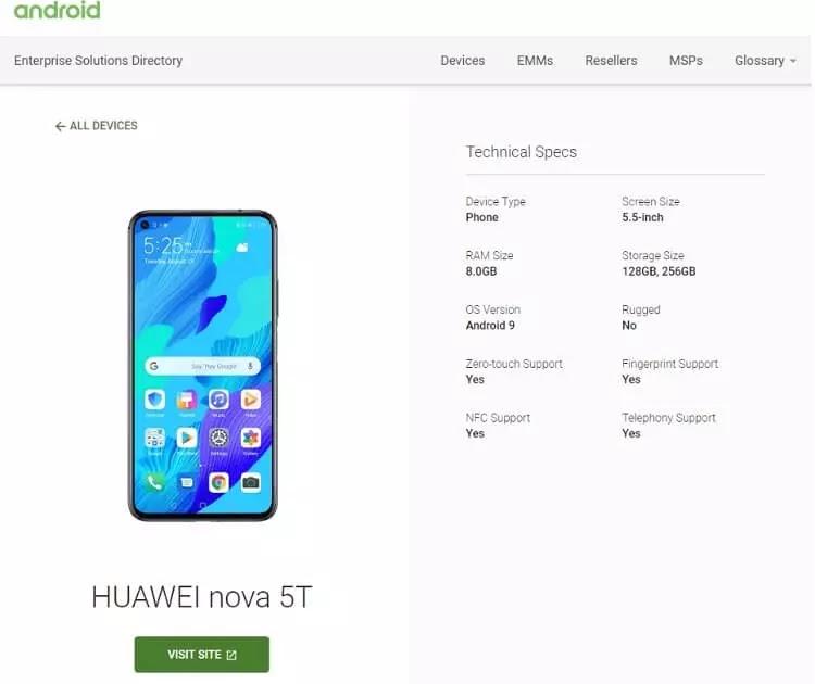 Huawei Nova 5T Listing