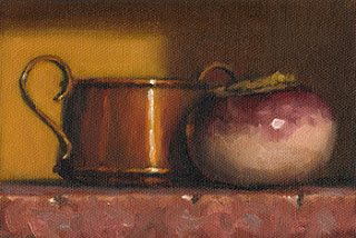 Still life oil painting of a turnip beside a small copper pot.