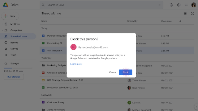 Block another user in Google Drive