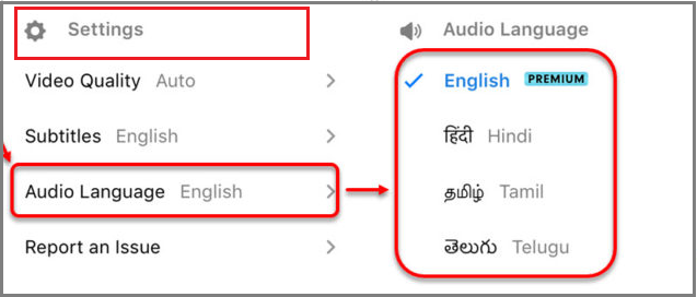 change audio language on hotstar app