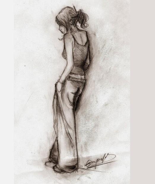 Sad Girl Crying Sketch