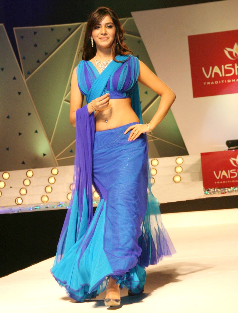 South Indian Girl Samantha Hip Navel In Blue Half Saree