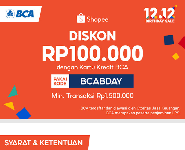 Diskon 100 Ribu Belanja di SHOPEE Pakai Kartu Kredit BCA (s.d 11 Desember 2020)