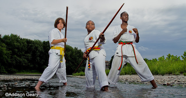 Martial arts students outdoors