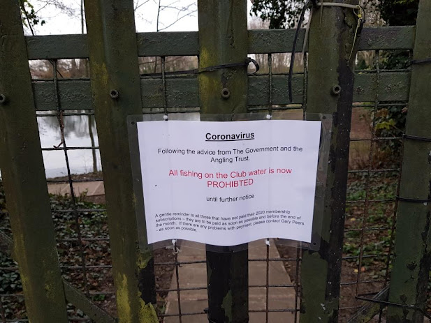 Coronavirus sign at Cheadle Angling Club