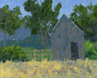 art painting original landscape rural knife shed barn