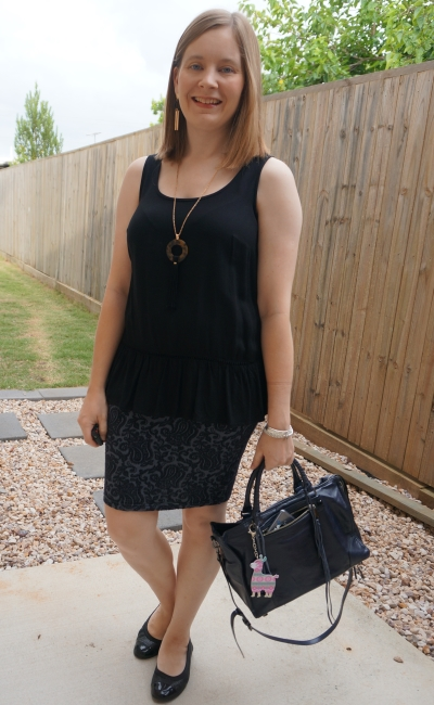 navy and black summer office outfit peplum tank and jacquard pencil skirt, Regan bag | away from blue
