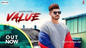 VALUE LYRICS – Kadir Thind   Punjabi Song Video